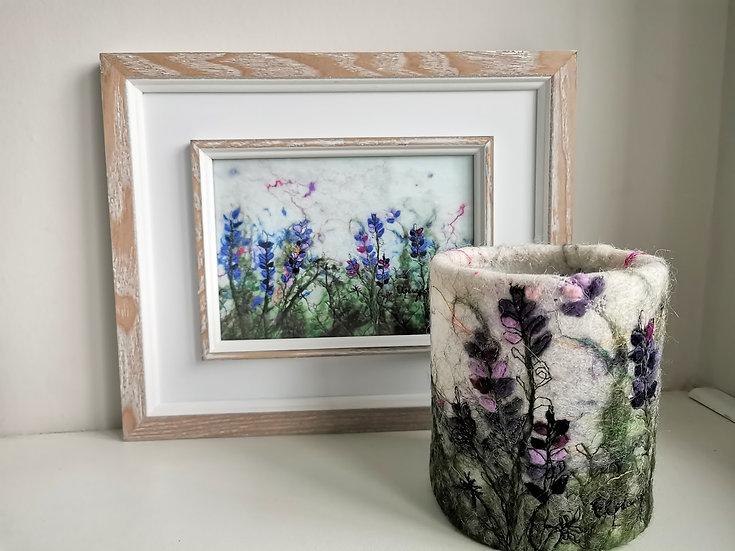 Lavender Felted Lamp and Framed Print Set
