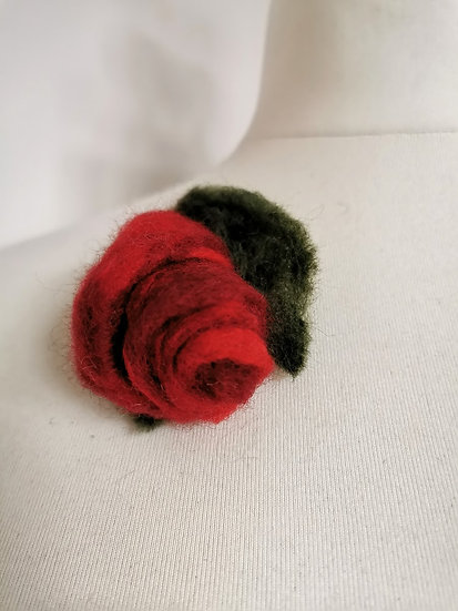 Red Rose Needle Felt Brooch/Corsage