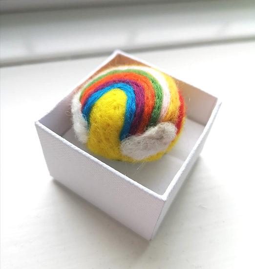 Needle Felt Rainbow Brooch