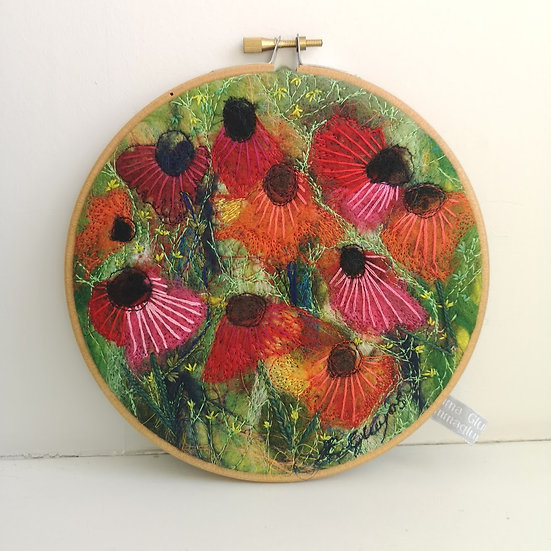 Pretty Poppies -  Felted Textile Art In A Hoop