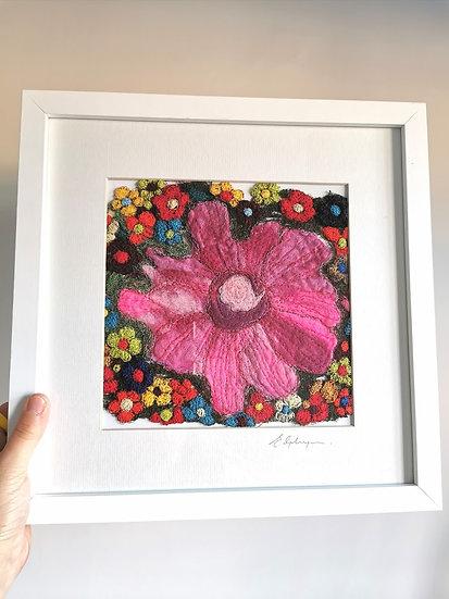 Flower Power Original Framed Textile