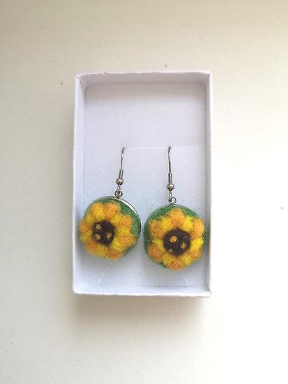 Sunflower Needle Felt Earrings