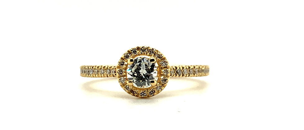 18 KT ROUND HALO SOLITAIRE RING