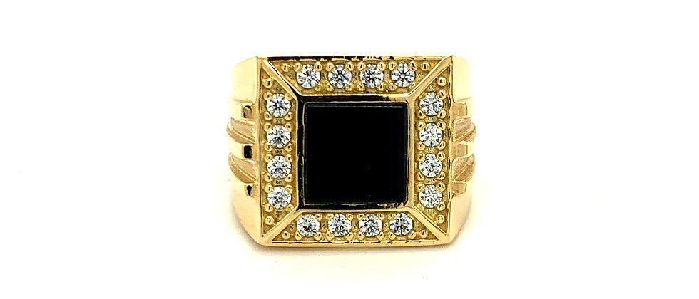 18 KT CLASSIC SQUARE ONYX RING