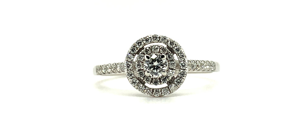 18 KT DOUBLE HALO SOLITAIRE RING