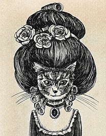 illustrazione donna gatto dequoration