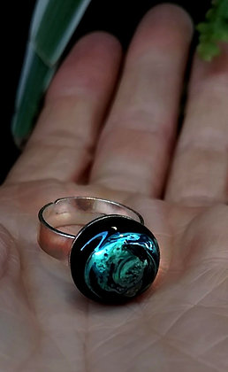 Anillo vidrio reciclado y plata Azul