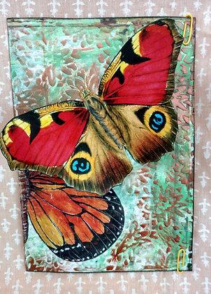 Postal reciclada Mariposas Red&Blue