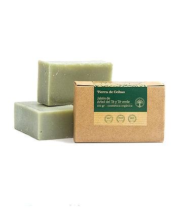 Jabón de árbol del té y té verde