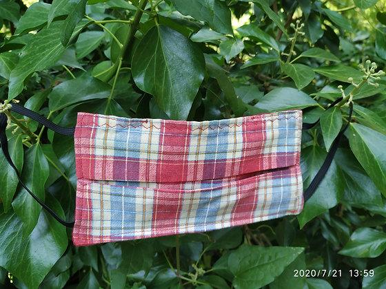 """Mascarilla de algodón con bolsillo """"Cuadros roja"""""""