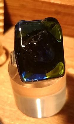 Anillo vidrio reciclado Verde y azul