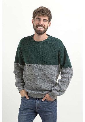 Jersey de lana Saüc verde y gris