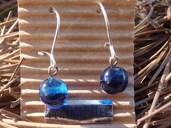 Pendientes  bola vidrio reciclado Azul