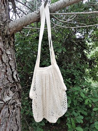 Bolsa de malla de algodón ecológico Blanca