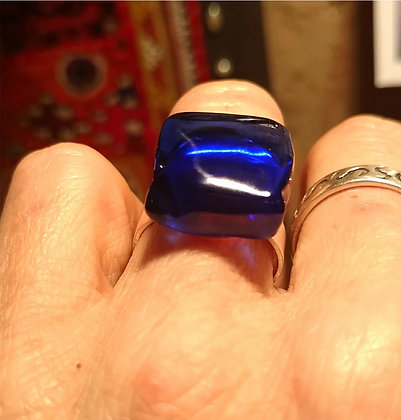 Anillo vidrio reciclado Azul I