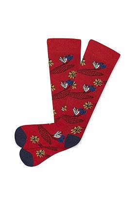 Calcetines largos Flores rojos