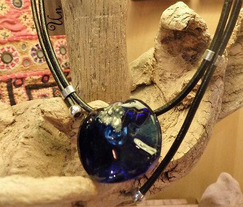 Colgante vidrio reciclado y plata Azul