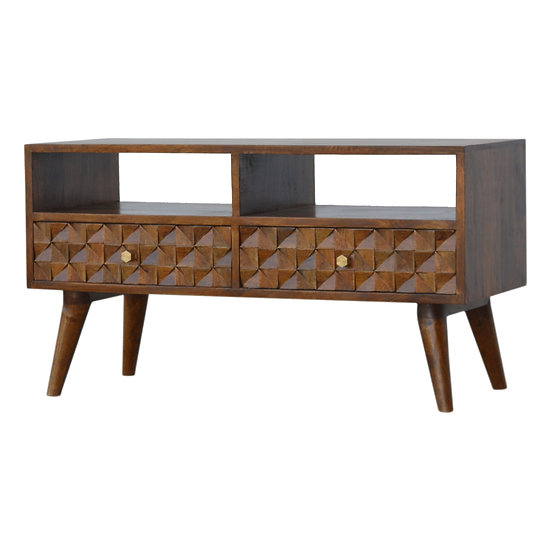 Handmade Solid Wood Chestnut Carved TV Unit
