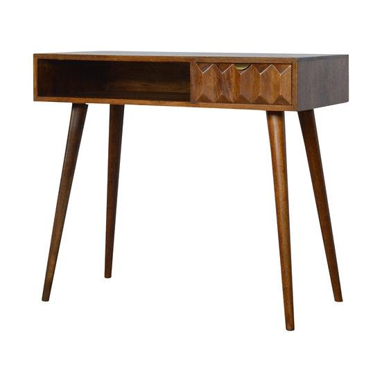 Handcrafted Solid Wood Chestnut Prism Carved Writing Desk