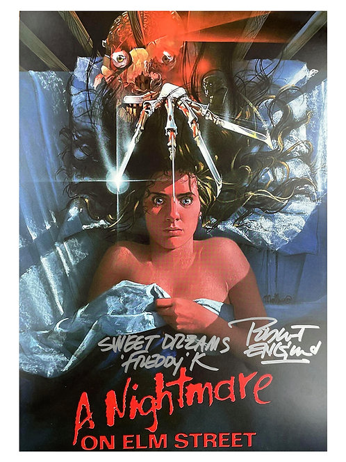 A3 Nightmare on Elm Street Poster Sweet Dreams Quote Signed by Robert Englund