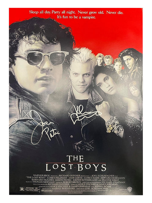 A2 The Lost Boys Poster Signed by Kiefer Sutherland & Jason Patric