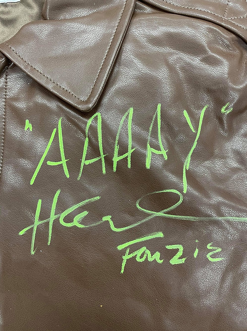 AAAAY Authentic Fonzie Leather Jacket Signed By Henry W