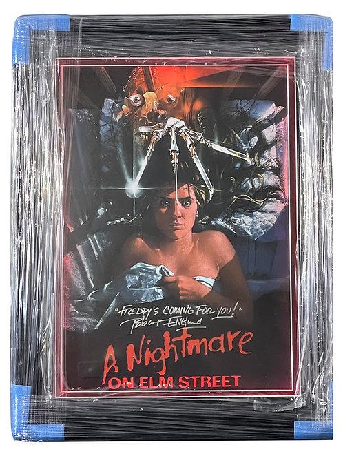Framed LED Lit A2 Nightmare on Elm St Poster Signed By Robert Englund