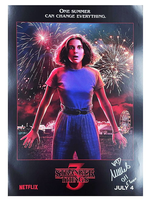 A2 Stranger Things 3 Poster Signed by Millie Bobby Brown