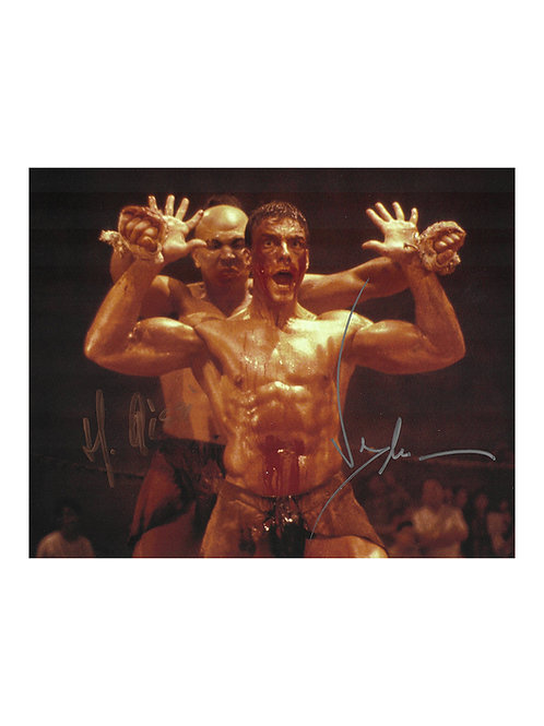 10x8 Kickboxer Print Signed by JCVD Jean-Claude Van Damme & Michel Qissi