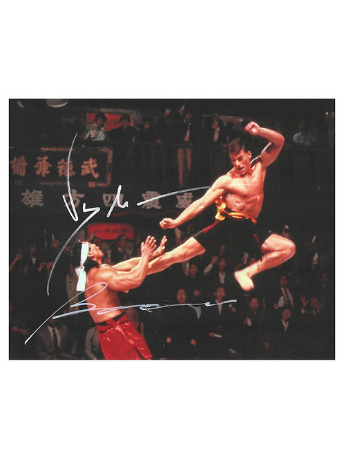 10x8 Bloodsport Print Signed in Silver by JCVD & Bolo Yeung