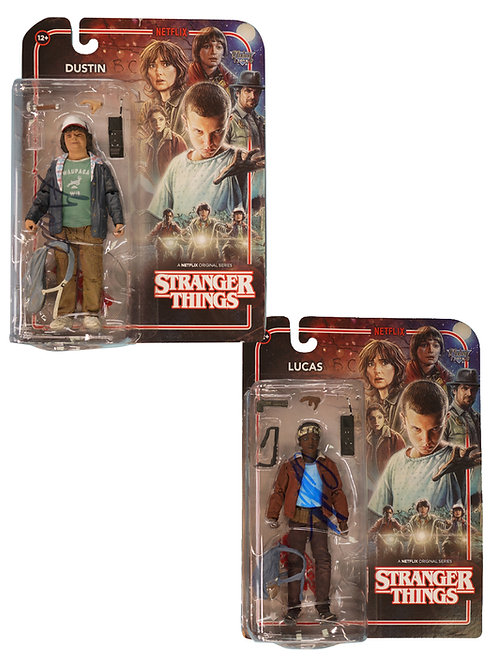 Stranger Things Dustin & Lucas Figures Signed By Caleb & Gaten
