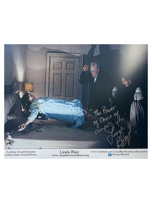 14x11 The Exorcist Print With Power Of Christ Quote Signed by Linda Blair