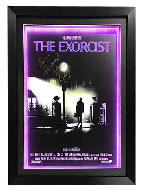 Framed LED Lit Exorcist A2 Poster Signed by Linda Blair