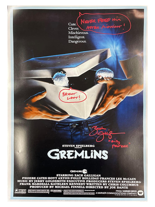 A2 Gremlins Poster With Quote Signed by Zach Galligan