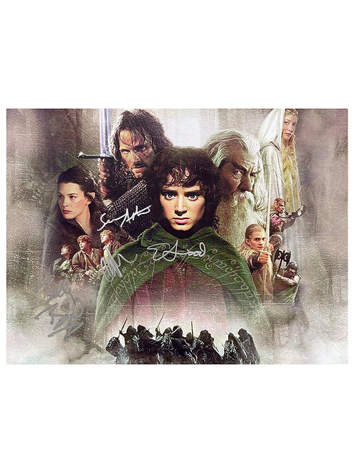 16x12 Lord Of The Rings Print Signed By All Four LOTR Hobbits