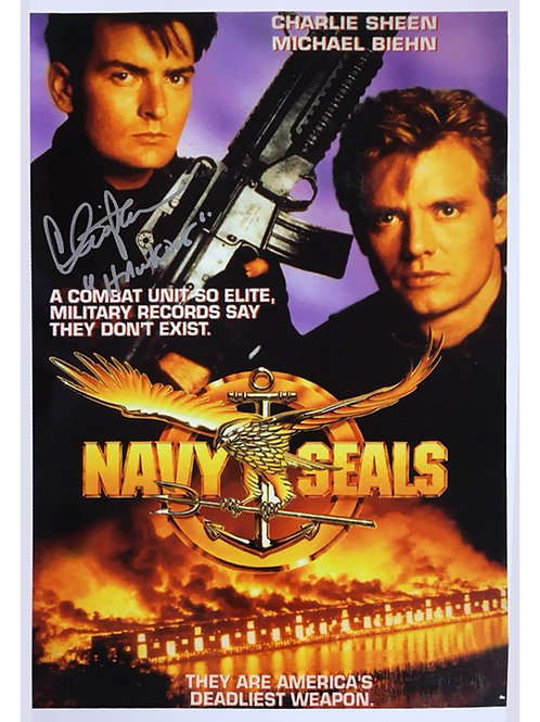 A3 Navy Seals Poster Signed by Charlie Sheen