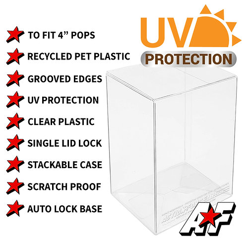 """4"""" Funko Pop Vinyl Protector Cases 0.40mm Thickness in 1 - 100 Pack Sizes"""