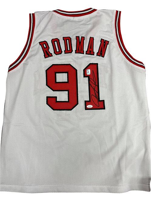 Chicago Bulls Basketball Shirt Signed By Dennis Rodman