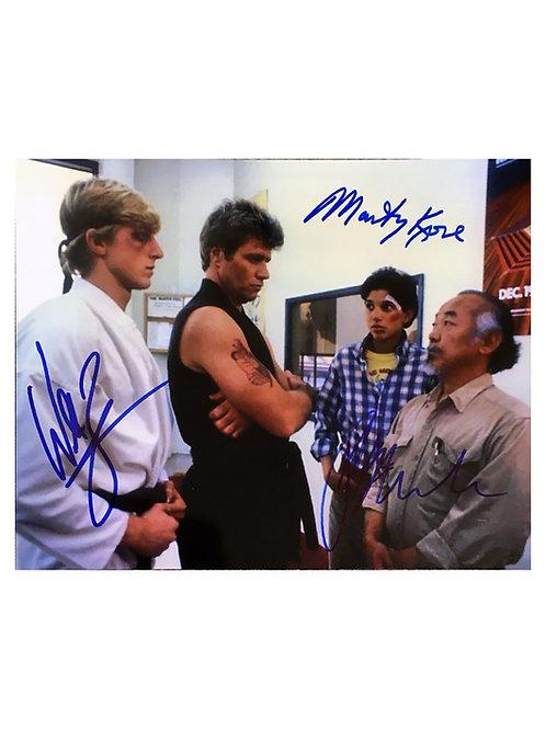 10x8 Karate Kid Print Signed by Ralph Macchio, Martin Kove  and William Zabka