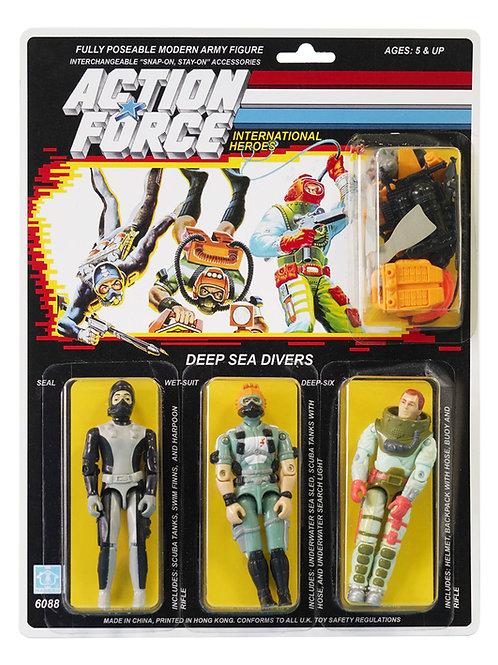 Action Force / GI Joe Deep Sea Divers Seal, Wet-Suit, Deep-Six MOC Carded Custom