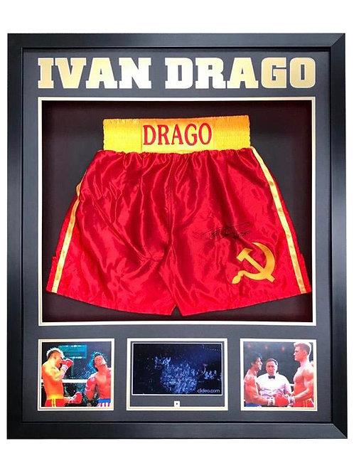 Framed Red Ivan Drago Boxing Shorts Signed by Dolph Lundgren