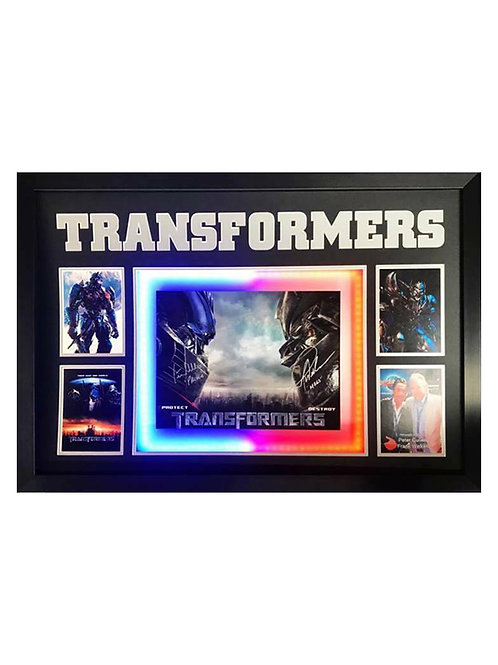 Framed LED Lit Transformers Poster Signed by Peter Cullen & Frank Welker