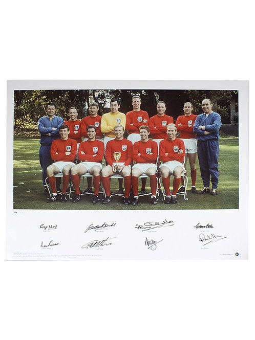 23x16.5 1966 World Cup Squad Photo Signed By 8 Players