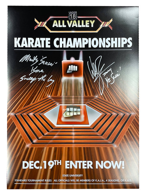 A2 Karate Kid Poster Signed by William Zabka and Martin Kove