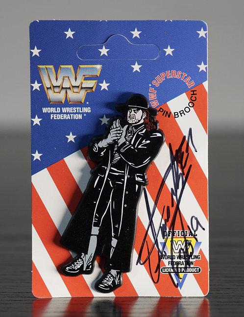 Vintage WWF Enamel Pin Badge Signed by Wrestling Superstar The Undertaker
