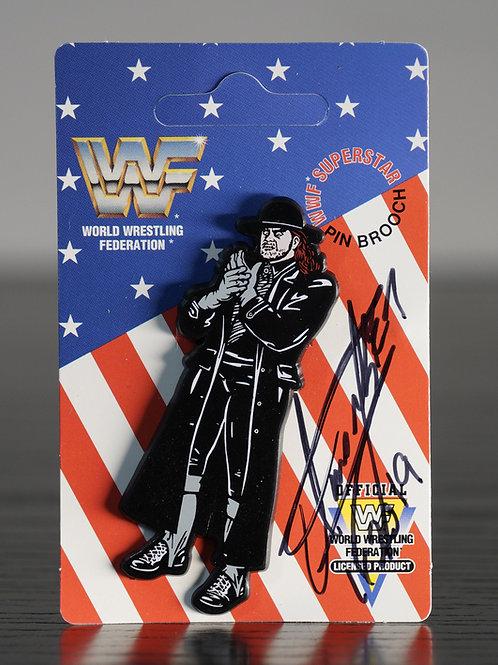 Vintage WWF Enamel Pin Badge Signed by Wrestling Superstar The Undertake