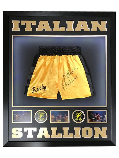Framed Gold Rocky Boxing Shorts Signed by Sylvester Stallone