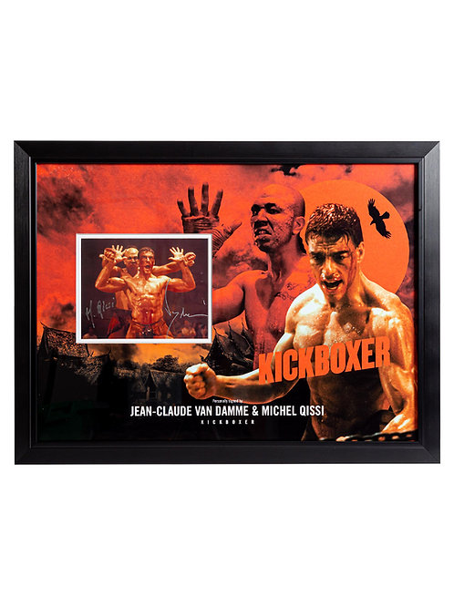 Kickboxer Framed Print Signed by Jean-Claude Van Damme and Michel Qissi
