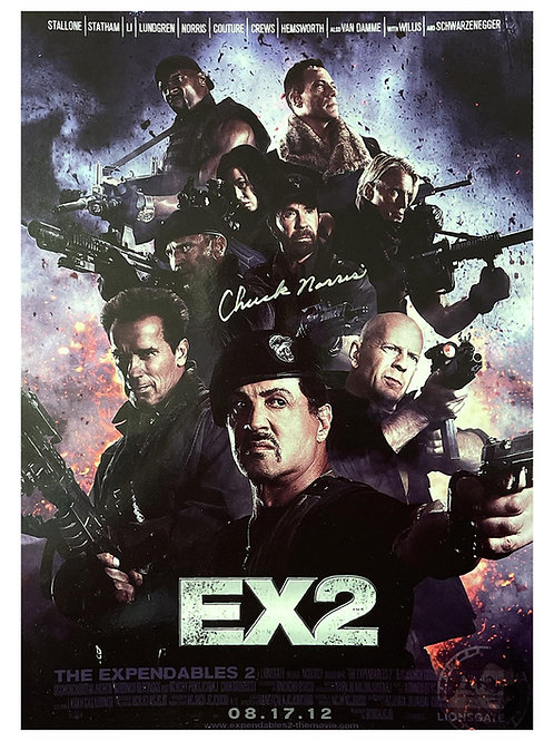 A3 The Expendables 2 Poster Signed by Chuck Norris