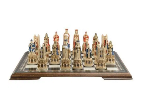 Studio Anne Carlton Medieval Cathedral Handpainted Chess Set Pieces